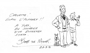 The dedication by Bob De Moor (the drawing was by Yves Rodier)