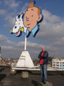 Yves Rodier on the roof of the Le Lombard building in Brussels.
