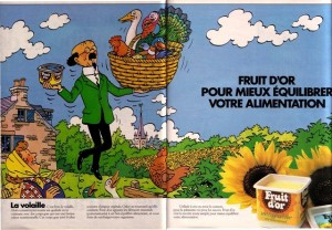 Advert featuring peasant woman - Copyright © Hergé / Moulinsart