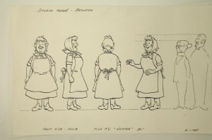 Peasant woman as drawn by Bob De Moor for the Belvision team - Copyright © Hergé / Moulinsart