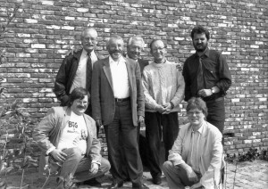 The jury for the 'Bronzen Adhemar 1991' in Turnhout, Belgium. From the left to the right: Ad Hendrickx, Bob De Moor, Jan Smet, Marc Sleen, Manu Manderveld, Patrick Van Gompel, Hec Leemans.