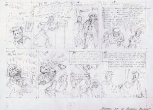 "The penciled version of page 4 of ""Barelli et le Bouddha boudant"""