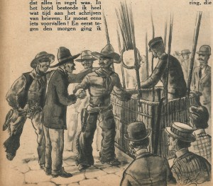 "One of the 2 drawings that accompanied the story ""Een dolle weddenschap"""