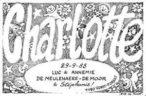 Birth card of Charlotte De Meulenaere