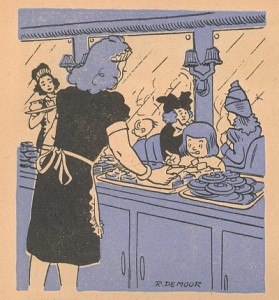 One of three drawings featured in this 1947 calendar.