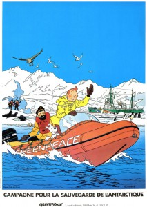The Greenpeace poster drawn by Bob De Moor - Copyright © Hergé / Moulinsart