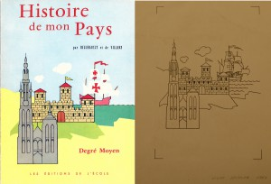 On the left the final cover as it was printed, on the right the cover as drawn by Bob De Moor.