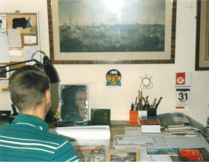 Johannes Stawowy sitting at Bob De Moor's desk - picture 1.
