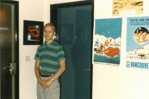 Johannes Stawowy standing in front of Bob De Moor's office door, notice the painting on the left. Worth millions now.