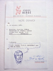 The note dating from 1984 with Mortimer as drawn by Bob De Moor.