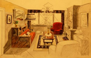 An interior design by Bob De Moor, probably late 40s, early 50s.