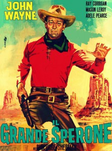 "The poster for the Italian version of ""Wyoming Outlaw"" (a 1939 American 'Three Mesquiteers' Western film) featuring John Wayne as Stony Brooke."