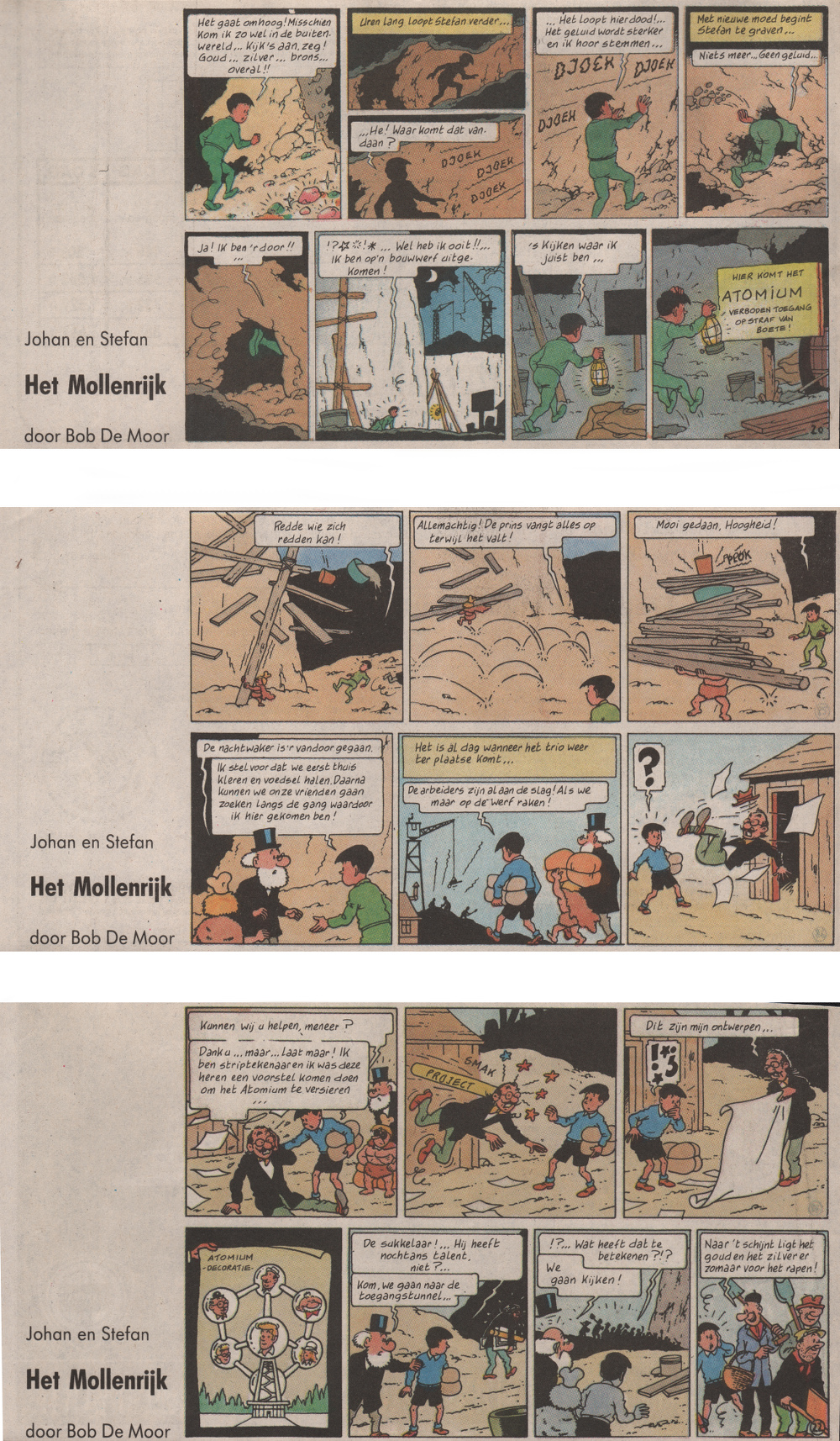 3 strips in colour from the version as published by Gazet van Antwerpen in 1992.