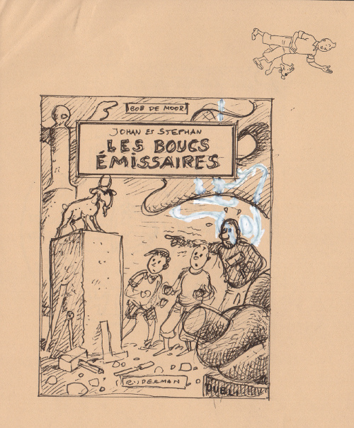 "In 1989 Casterman and Rijperman released the first color album version of ""De Zondebokken"" (""Les Bouts Emissaires"" in French, and ""De Geitenrijders"" in the original Flemish version which was also the very first Snow en Snolleke album ever). For that reedition Bob De Moor would prepare a lot of different versions of the cover artwork. Today we present you one already which we found back in the collection of Olivier Marin and which was made for a Rijperman version in mind (the title is also in French and not in Dutch). The drawing was made on drawing stationary from the Hergé Studios as you can see and is rather small, but drawn in a very swift and fluent way. The black and white drawing is quite different from the final version as you can see below. In this early version you see Snow and Snolleke (renamed Johan and Stefan in the dutch version - Johan and Stephan in the French version) together with Uncle Zigomar (ridiculously translated Oom Watje in Dutch) looking at a goat statue placed on a high pedestal. Zigomar is holding a hammer, referring to his role as a sculptor in this album. You will notice that De Moor 'deleted' a sculpture in the background in order to make Zigomar more visible. Zigomar seems terrified of the statue, which is not really all that logical, it's a statue after all. And that might well have been Bob De Moor's reason not to go into this direction. Add to this that compared to the final version this one has a lot less action, you just see the trio watching the statue. In the final version, you find inspector Evaristus who is about to be knocked down whilst watching a sculpture of a goat. Small detail, the scene presented on the cover artwork of the album never happened in the album, in reality Evaristus was watching an empty pedestal. But Bob De Moor wanted to get the goat statue central in the drawing's action."