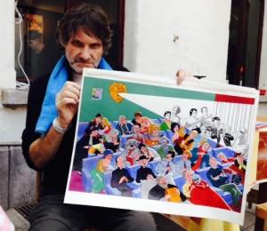 Robbe de Hert holding the original Bob de Moor drawing