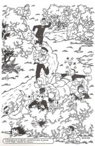 The B/W drawing for the cover for Tintin, issue 43, 1950.