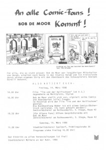 The announcement of Bob De Moor visiting Mülheim, Germany on March 14&15, 1986. Do you recognize the Barelli drawing?