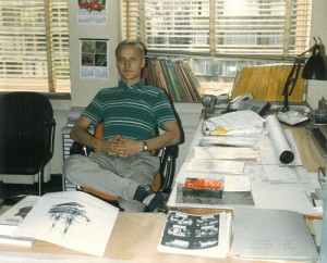 Johannes Stawowy sitting at Bob De Moor's desk - picture 2.