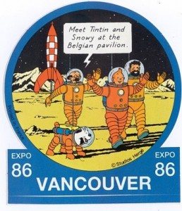 The sticker for the Belgian pavilion at the Vancouver Expo 1986. Copyright © Hergé / Moulinsart