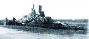 The completely destroyed first Ijzertoren in 1946.