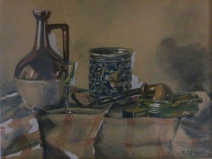 Bob De Moor still life painting from 1947.