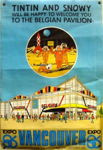 The official poster for the Belgian pavilion at the Vancouver Expo 1986 as drawn by Bob De Moor. Copyright © Hergé / Moulinsart