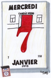 """Mercredi 7 janvier"", the second cartoon by Johan De Moor."