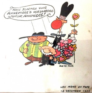 The birthday card for Annemie De Moor in 1965.