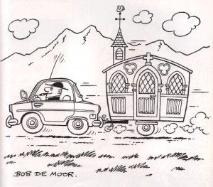 The priest on holiday with his churchavan...