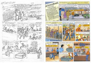 The initial sketched page is on the left, the final version is on the right.  Click to see the bigger version.