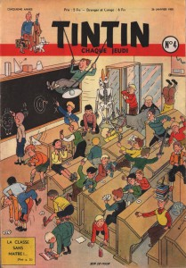 The actual frontcover of Tintin issue 4, from January 26, 1950.