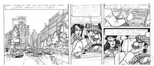 "The middle strip of the 15th page in the ""Barelli in Bruisend Brussel"" album. Bob De Moor already inked the characters."