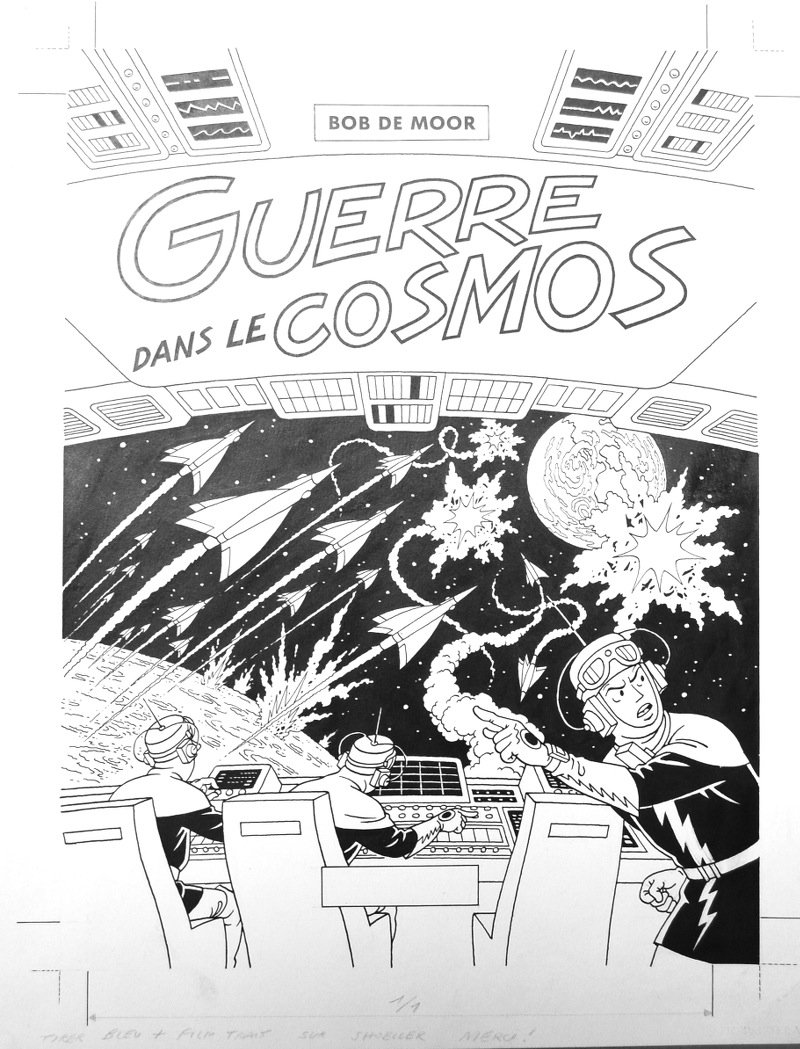 "The never published before cover artwork of the unreleased re-edition of ""Guerre Dans Le Cosmos""."