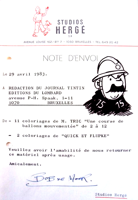 Bob De Moor draws Agent Officer No. 15 on a memo for the Tintin Journal