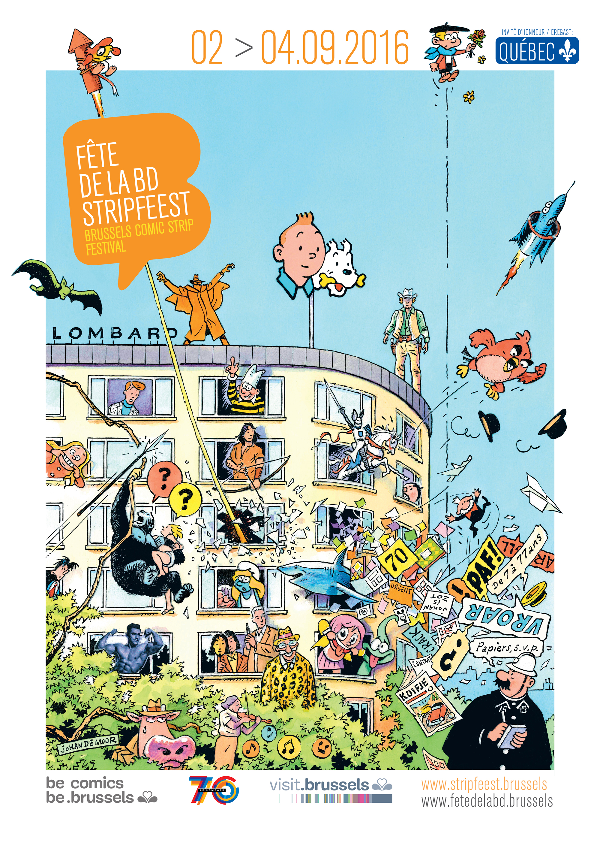 """From September 2 through September 4 you can visit the Brussels Comic Strip Festival in the Brussels park. The festival has been celebrating comics of all kinds in Brussels since 2010, and welcomes more than 100,000 visitors each year. Young or old, amateur or specialist, there is always something for everyone among the many activities on offer. For the 2016 edition, the Brussels park will be hosting comic museums, dozens of publishing houses, exhibitions, book shops, comic sellers, conferences, workshops and hundreds of authors signings. The Brussels Comic Strip Festival also includes a night-time show at Brussels Park, the Balloon's Day Parade, the Comic Strip Festival's Rally, comic strip exhibitions and activities throughout the city. We have been there for the past few years and it's always a delight meeting authors, publishers and friends. For Bob De Moor fans, there is a big chance you'll be able to complete your collection there as there are always shops present which also cater to the more 'conservative' comic strip fans. But, let's get back to Bob De Moor, or more precisely his son Johan De Moor who has completed the official artwork for the Festival's posters. On the poster we not only Tintin, the Smurfs, Ric Hochet, Thorgal, the Chevalier Ardent, etc., but also Balthazar. I'm sure you will recognise a lot other characters including a reference to Willy Vandersteen (""""De schat van Beersel""""). We all know that especially Balthazar is one of Johan's favourite characters, so that doesn't come as a surprise. Quite a nice poster this one is!"""