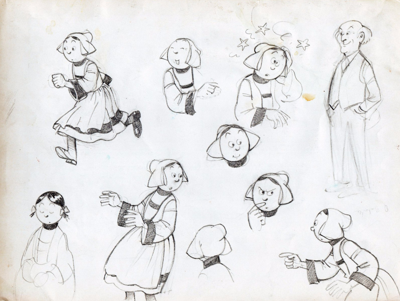 Preparatory drawings for Bécassine on the back of a Tintin chromo