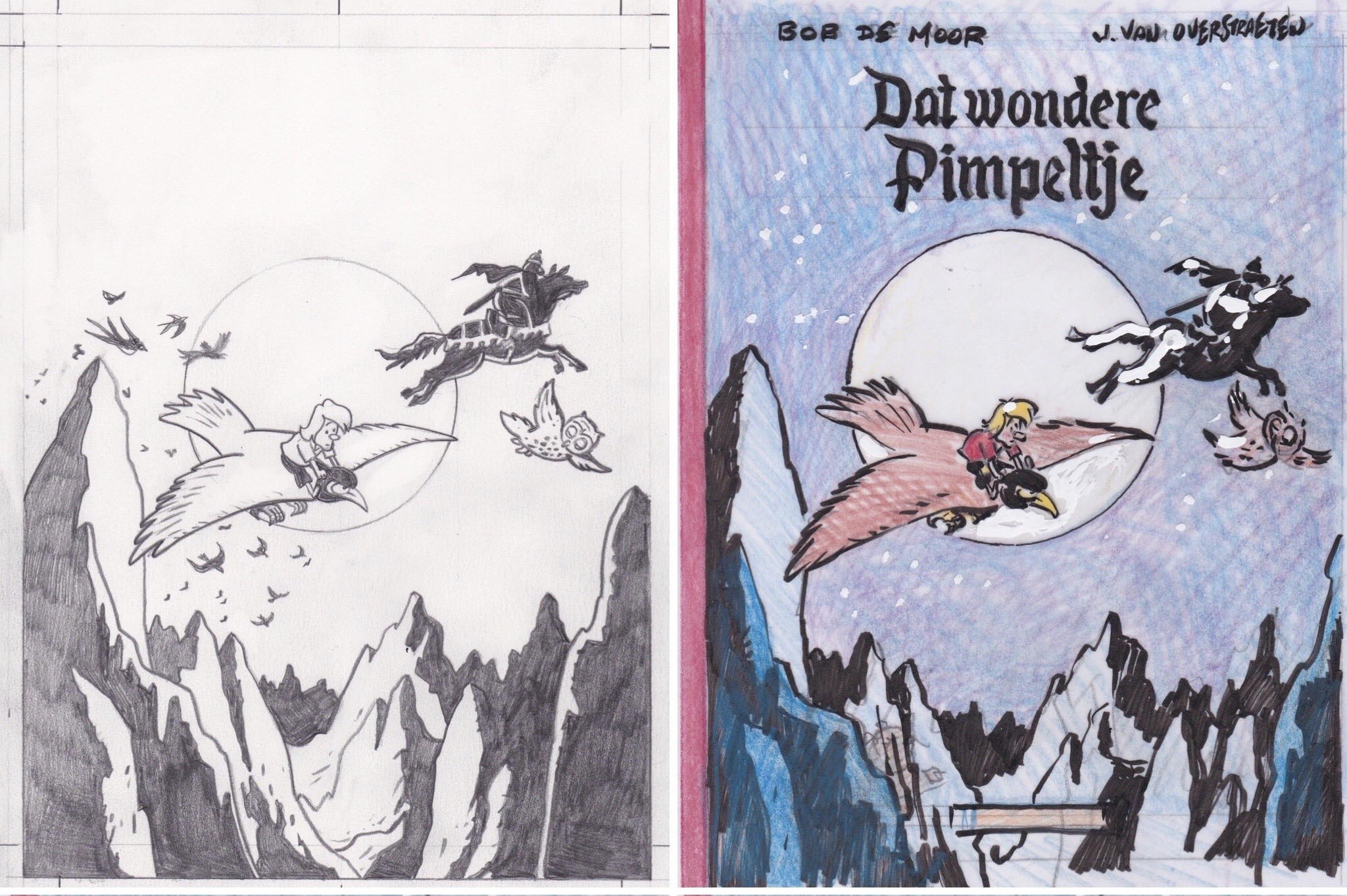 The birth of a cover for Bob De Moor's 'Dat wondere Pimpeltje' by Johan De Moor